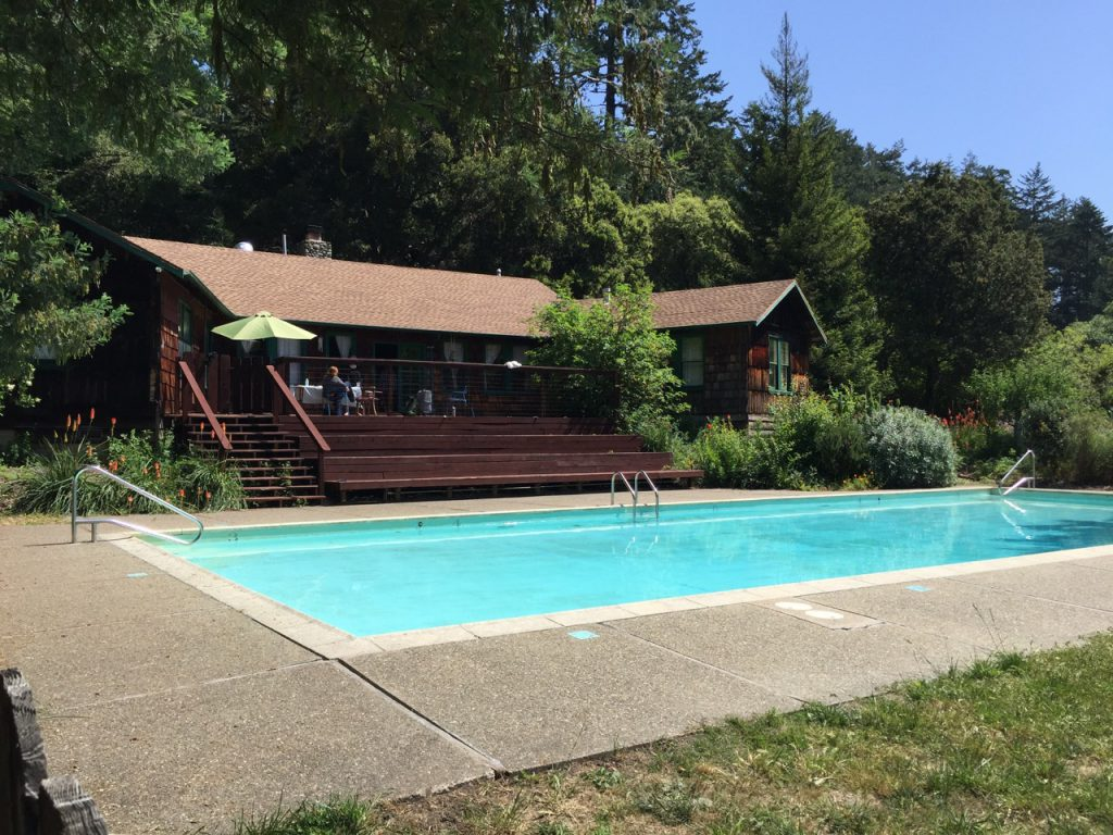view of the writing retreat center porch and pool