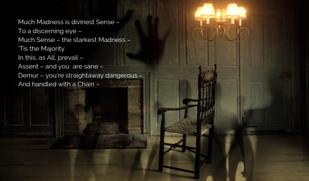dimly lit color photo of an empty rocking chair in front of a fireplace with strange shadows on the walls. Emily Dickinson's Poem number 435 is printed on the photo.